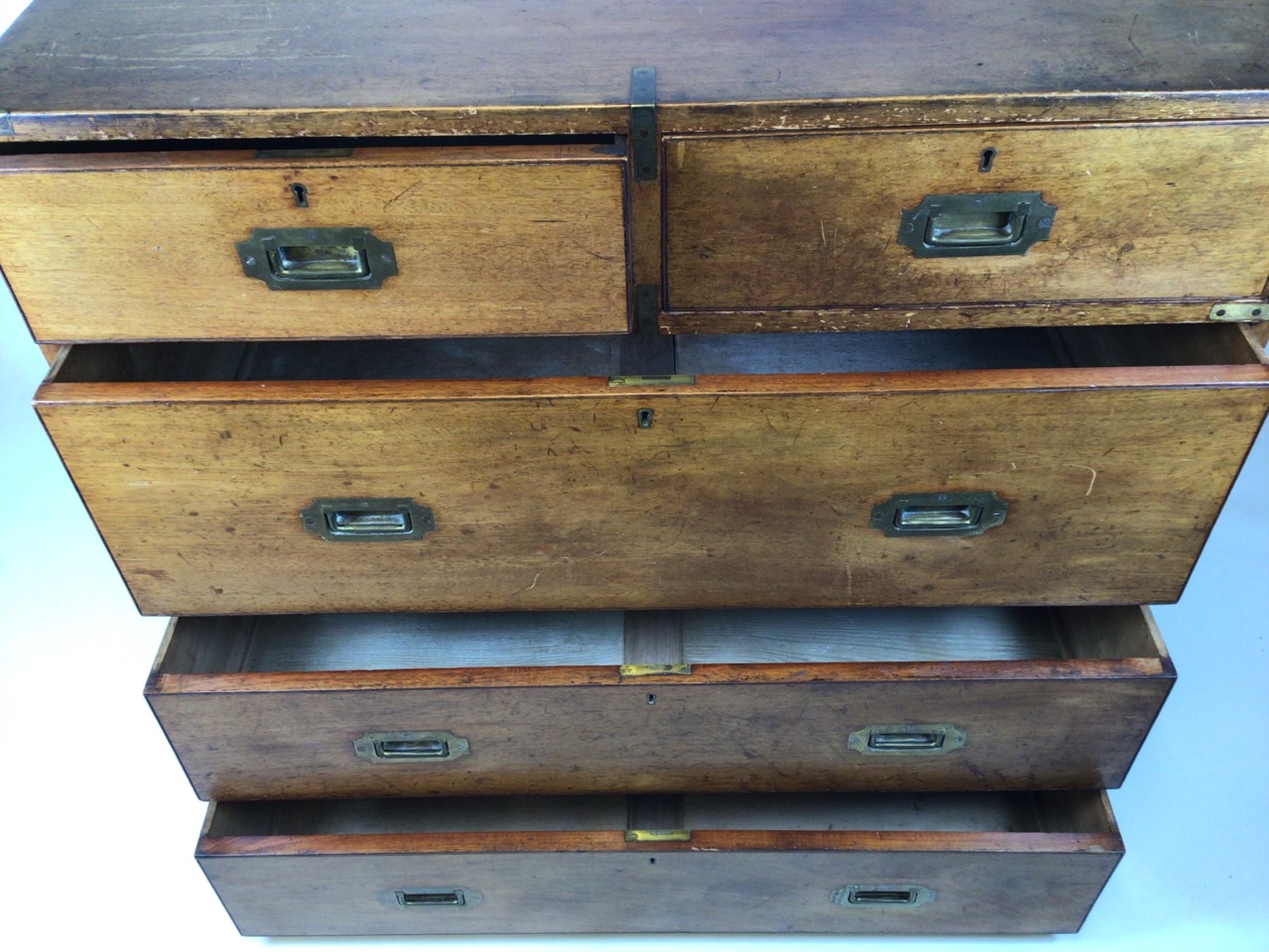 A 19th century mahogany two part military campaign chest of drawers. Lower section with two long - Image 6 of 11