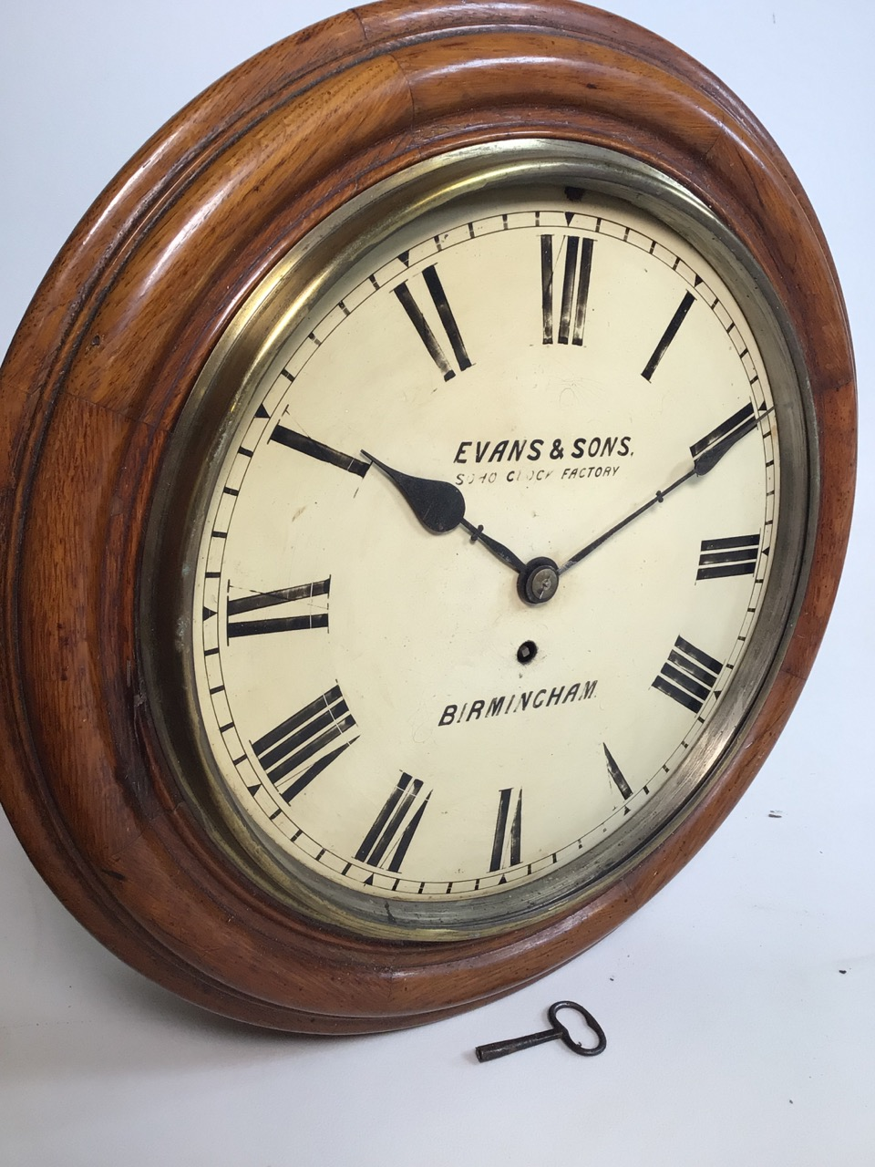 An Evans and sons Birmingham circular Fussee wall clock. Soho clock factory with oak case. Missing - Image 6 of 6