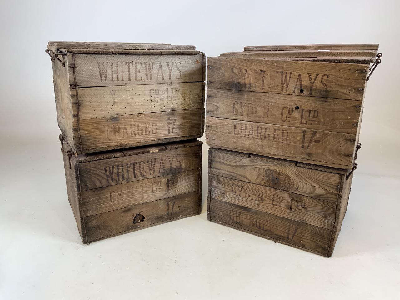 Four Whiteways Cyder Co ltd Cider boxes. From Whiteways, Hele, Exeter. W:32cm x D:39cm x H:28cm