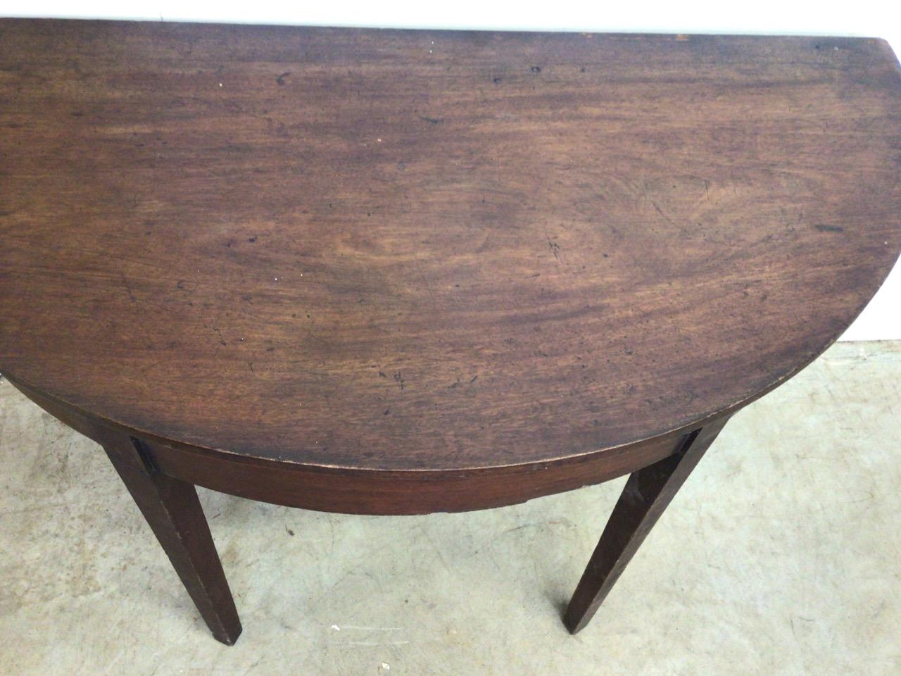 A Victorian mahogany D end table. W:121cm x D:58cm x H:73cm - Image 5 of 5
