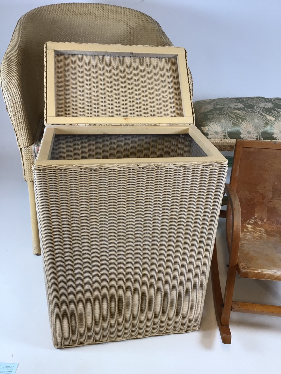 A Lloyd loom Lusty laundry basket also with a metal framed Lloyd loom style chair a bent wood childs - Image 2 of 6