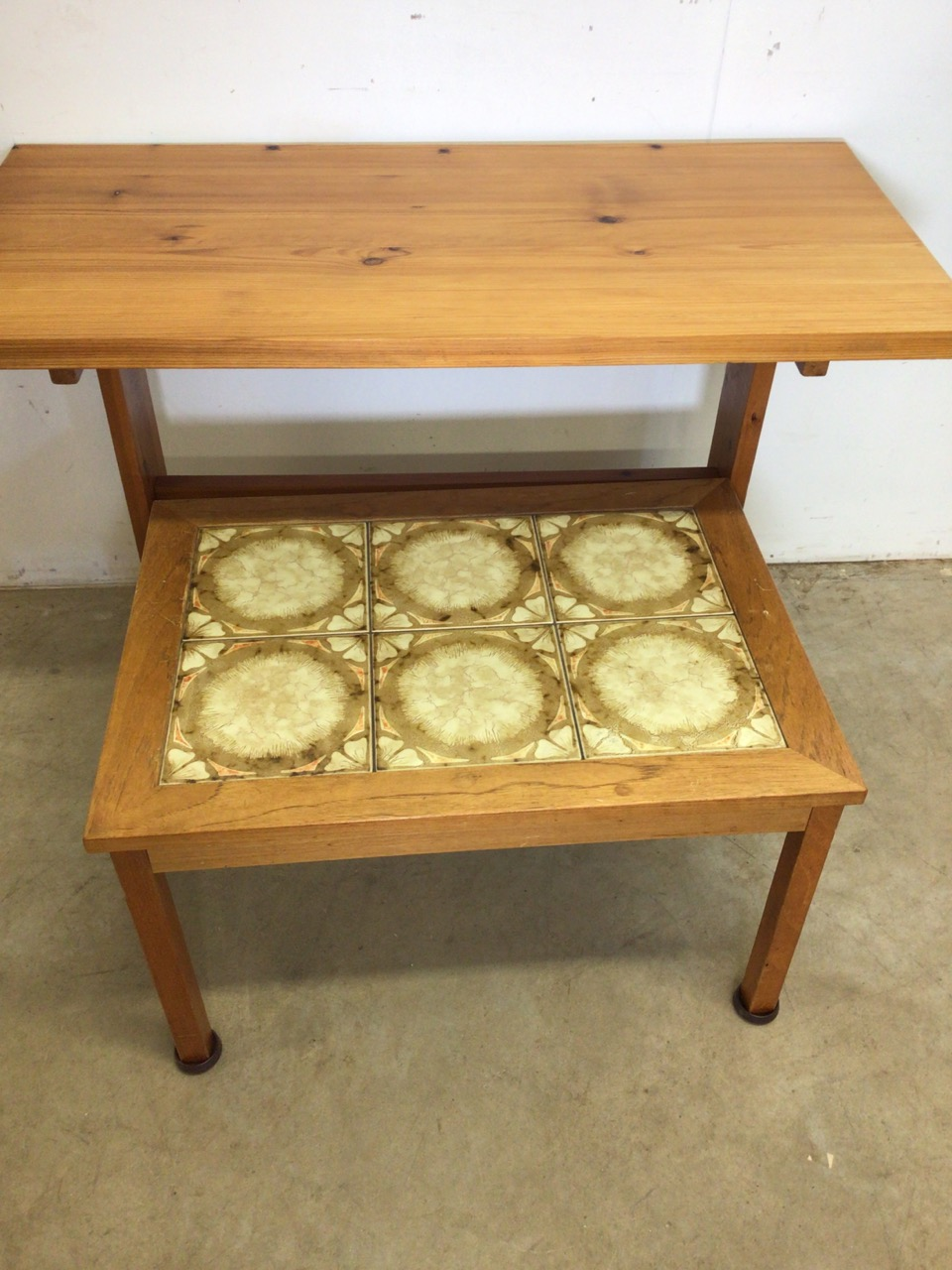 A pine table also with a tiled topped coffee table. W:107cm x D:52cm x H:74cm - Image 4 of 4