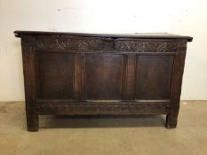 An English oak late 18th early 19th century carved coffer. W:122cm x D:52cm x H:72cm