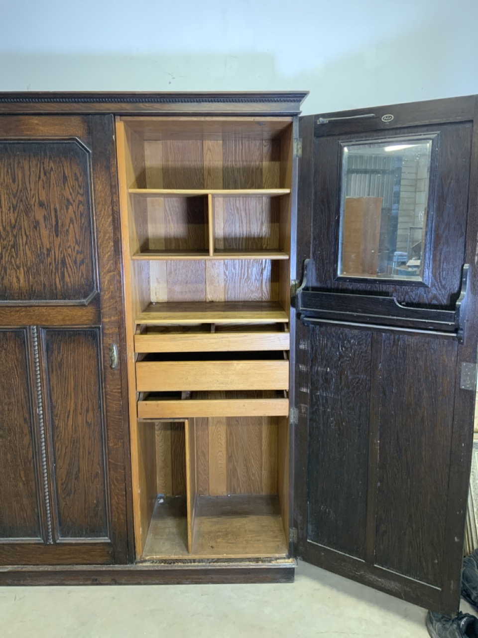 An early 20th century gentleman's oak double wardrobe by Awlyn furniture with fitted shelves, - Image 2 of 10