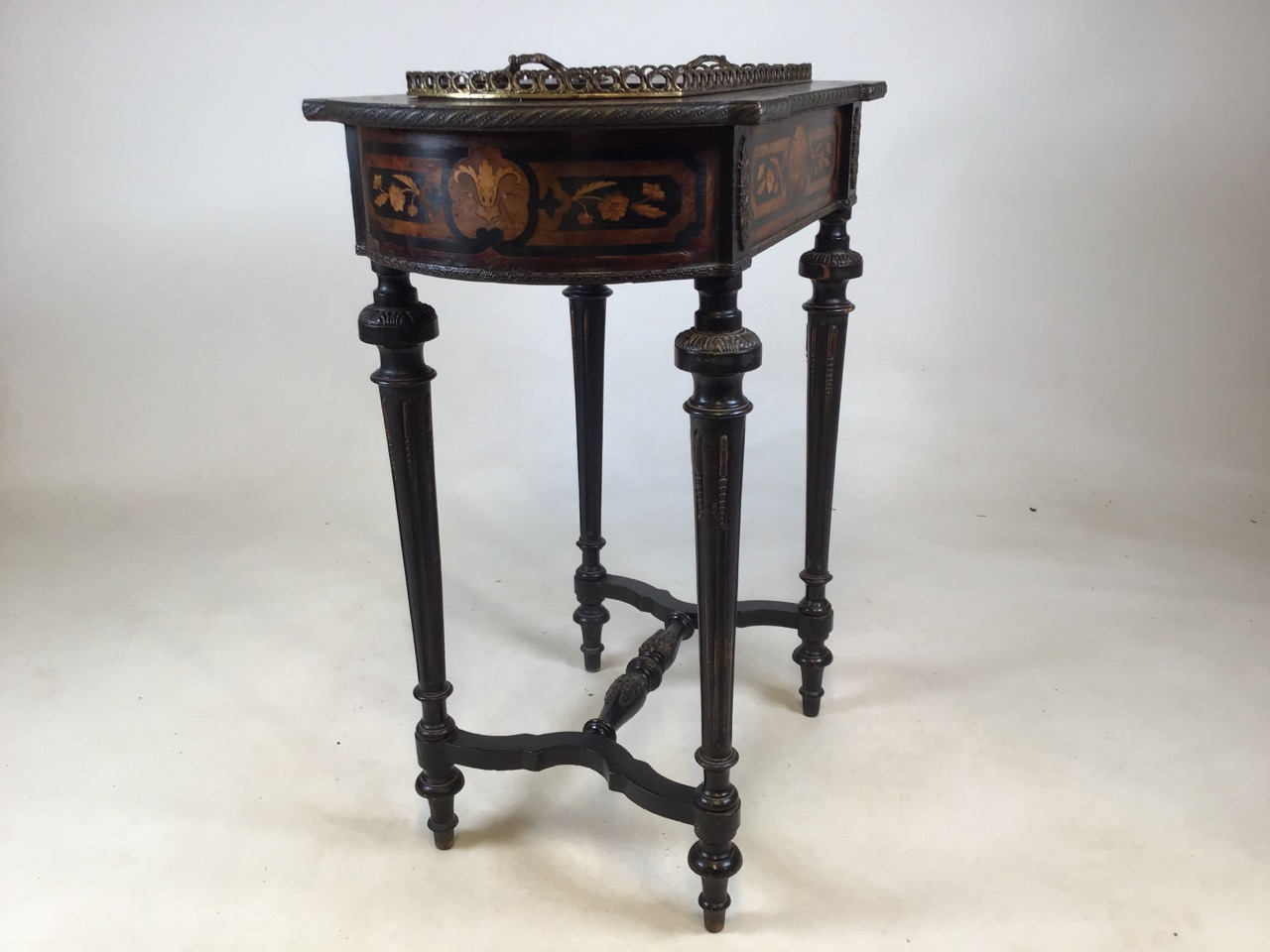 A 19th Century Dutch marquetry inlaid mahogany side table with tin lined lidded top possibly - Image 8 of 8