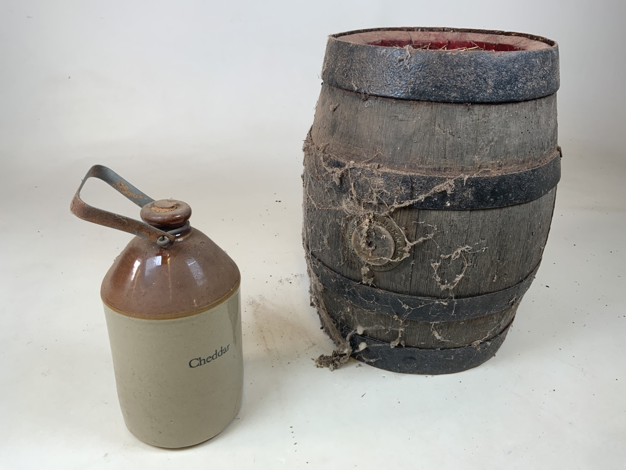 An old coopered barrel together with a cider flagon with metal handle from Cheddar Barrel W:34cm x - Image 2 of 3
