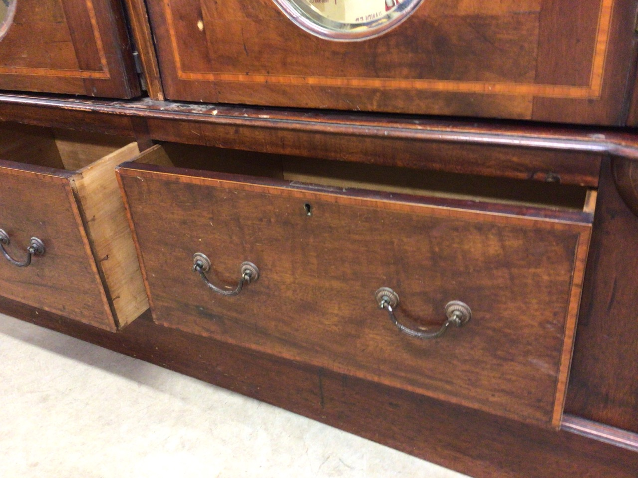 An mahogany Edwardian inlaid double wardrobe with oval bevelled mirrored doors two drawers to - Image 4 of 6