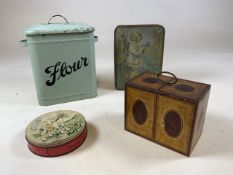An enamel flour storage tin together with a Huntley and Palmer Muffin the Mule tin, a William
