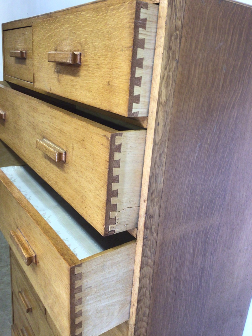 A mid century oak fronted ten drawer tall boy with original handles. W:91cm x D:41cm x H:158cm - Image 3 of 4