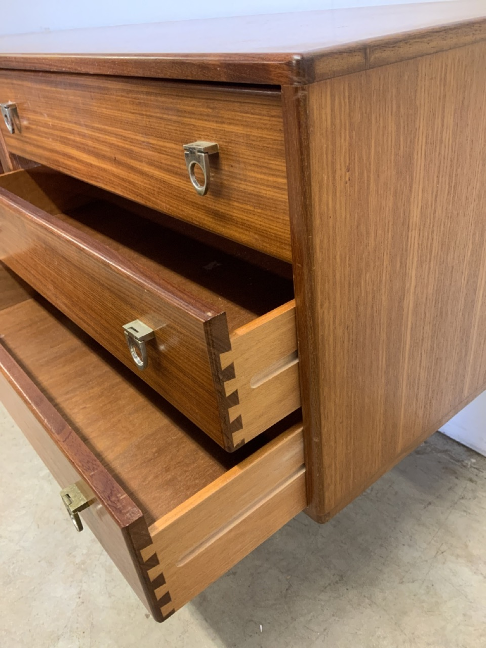 A mid century C.1960s teak sideboard by John Herbert for A Younger. Double cupboard doors to - Image 2 of 10