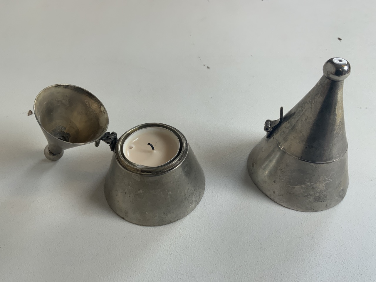 A collection of metalware including two nightlight holders with covers, a brass candle stick with - Image 2 of 8