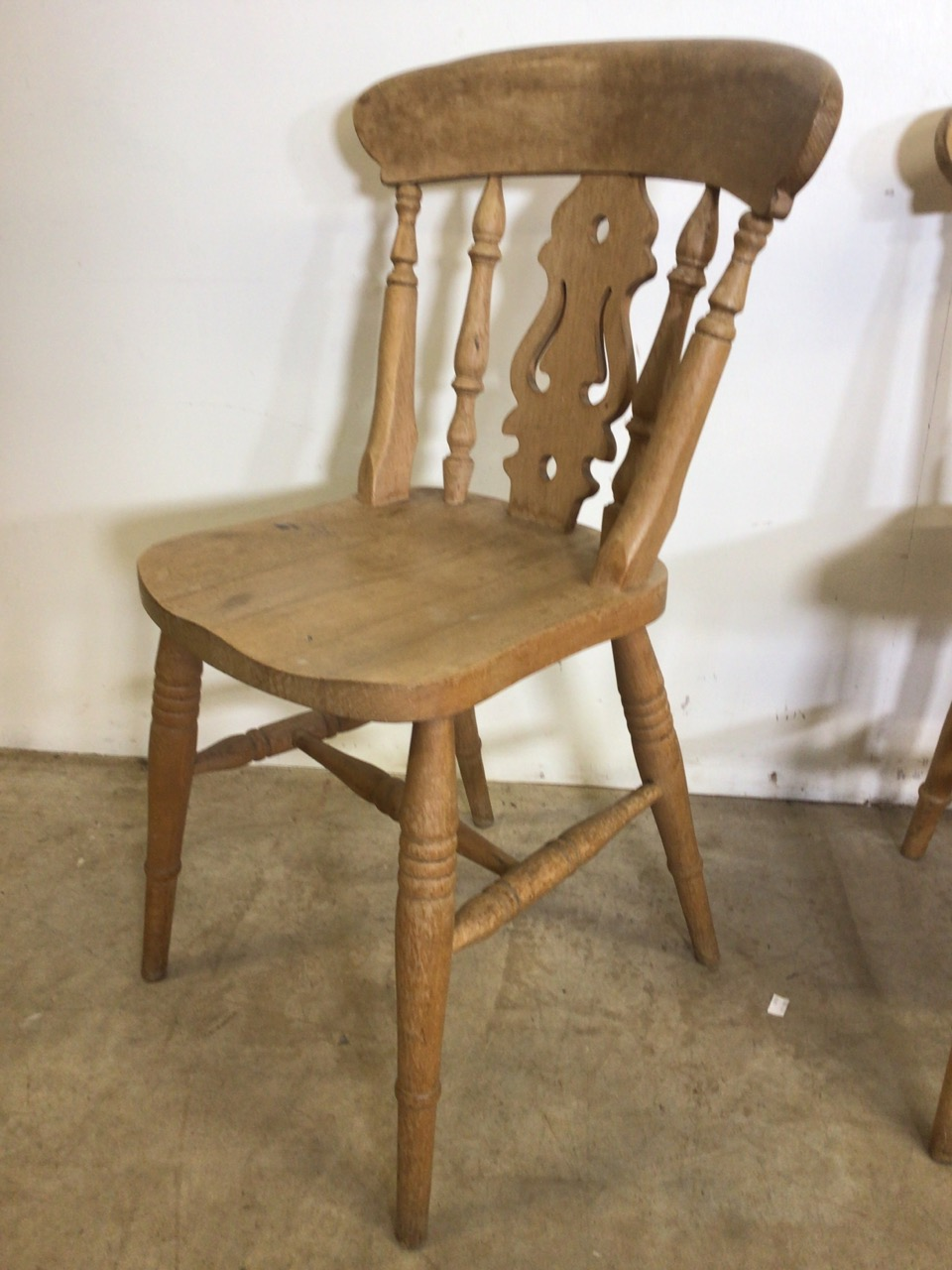 A pair of hardwood kitchen chairs and another. W:44cm x D:43cm x H:84cm - Image 2 of 4