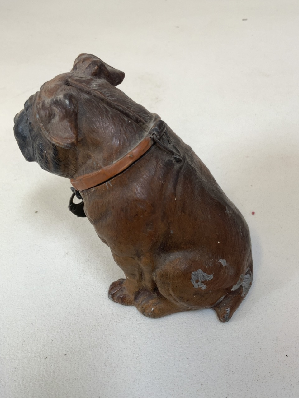Painted metal money box in form of bull dog. 10cm height. Some paint loss - Image 3 of 4