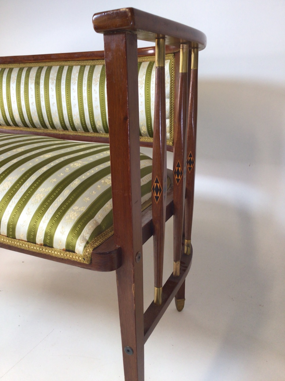 A Viennese secessionist mahogany and chequer inlaid parlour suite. - Image 10 of 12