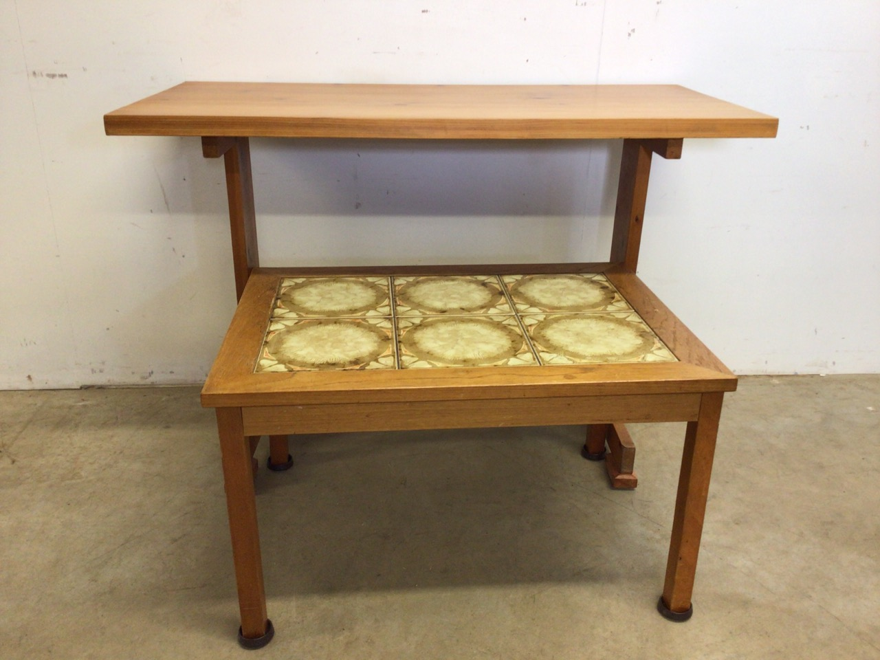 A pine table also with a tiled topped coffee table. W:107cm x D:52cm x H:74cm