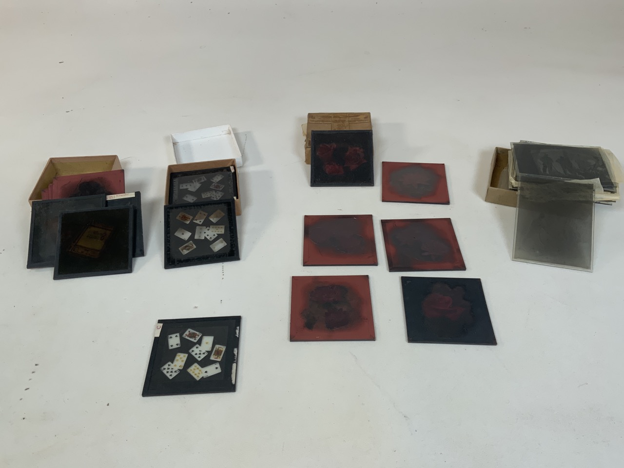 A collection of photographers glass plates including images of flowers, playing cards and