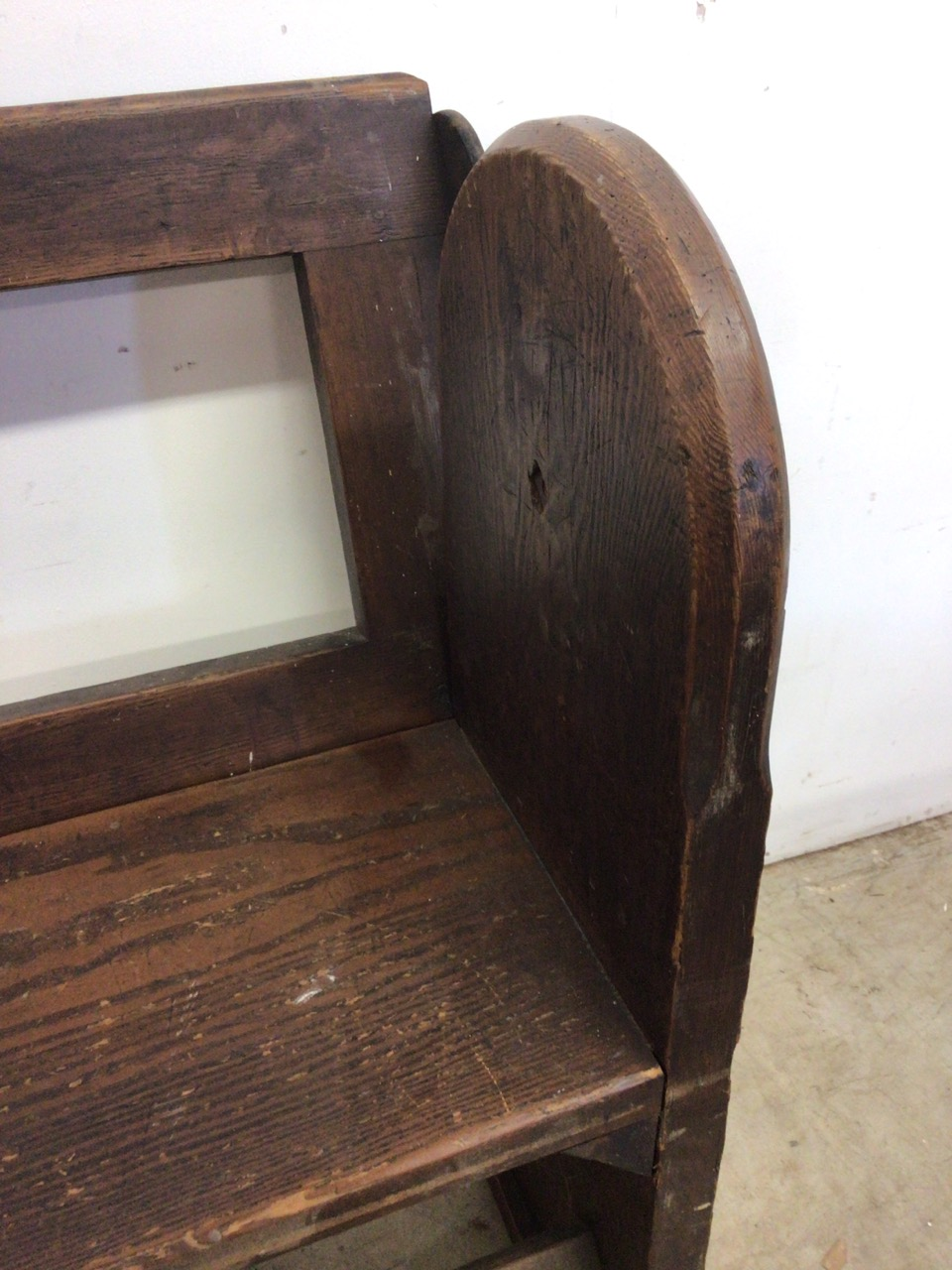 A pitch pine pew with reversable back rest and double footrests. W:215cm x D:50cm x H:82cm - Image 5 of 7