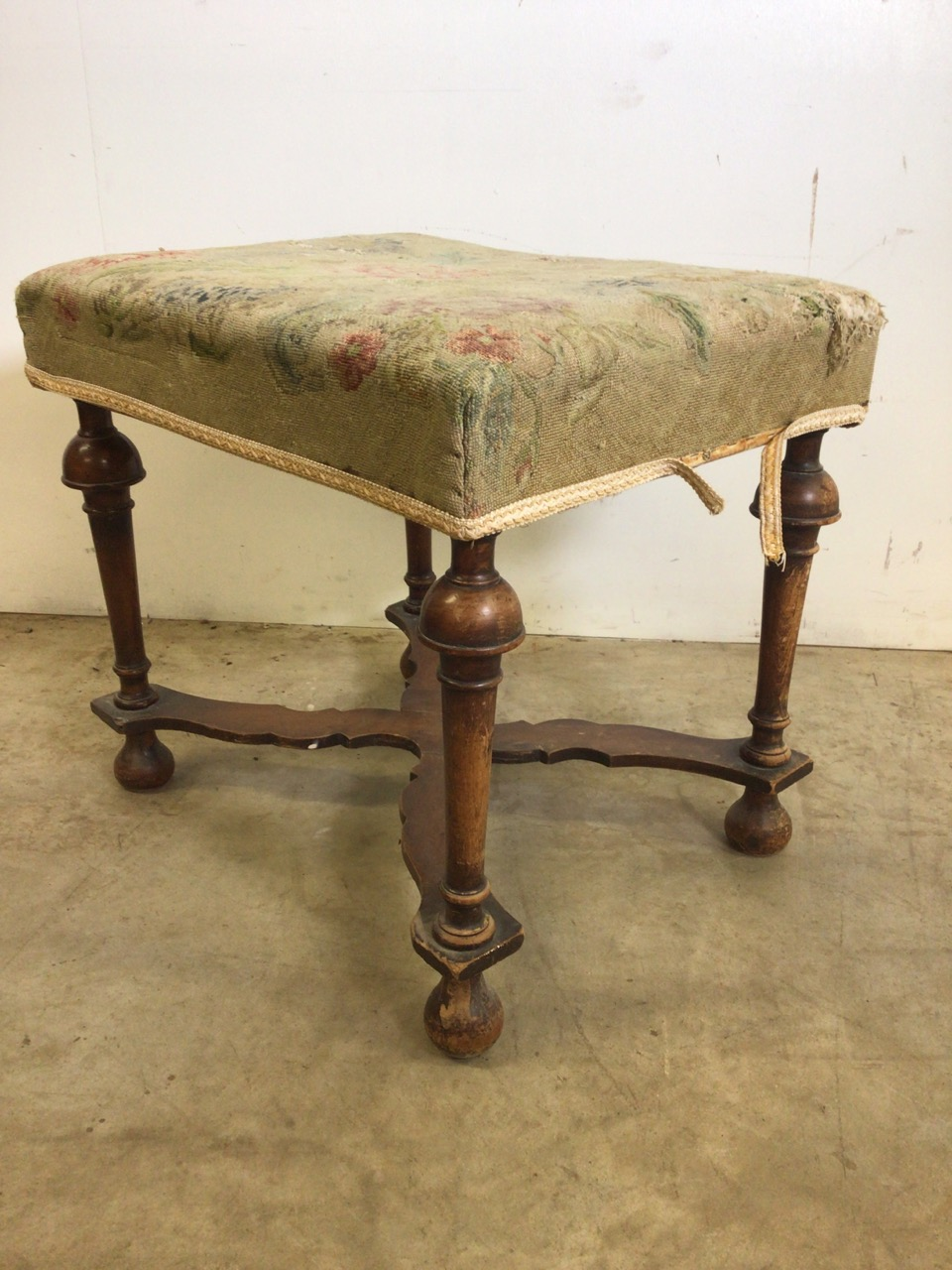 A Victorian mahogany upholstered stool with turned legs and X frame stretcher bar to base. With - Image 2 of 5