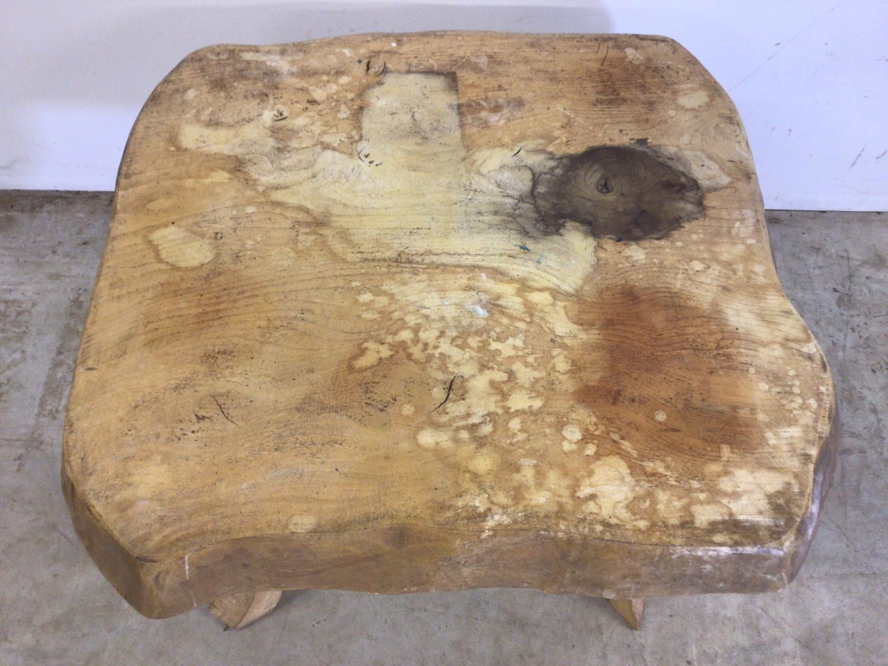 A rustic square coffee table, with 3 inch oak top. W:64cm x D:64cm x H:47cm - Image 4 of 5
