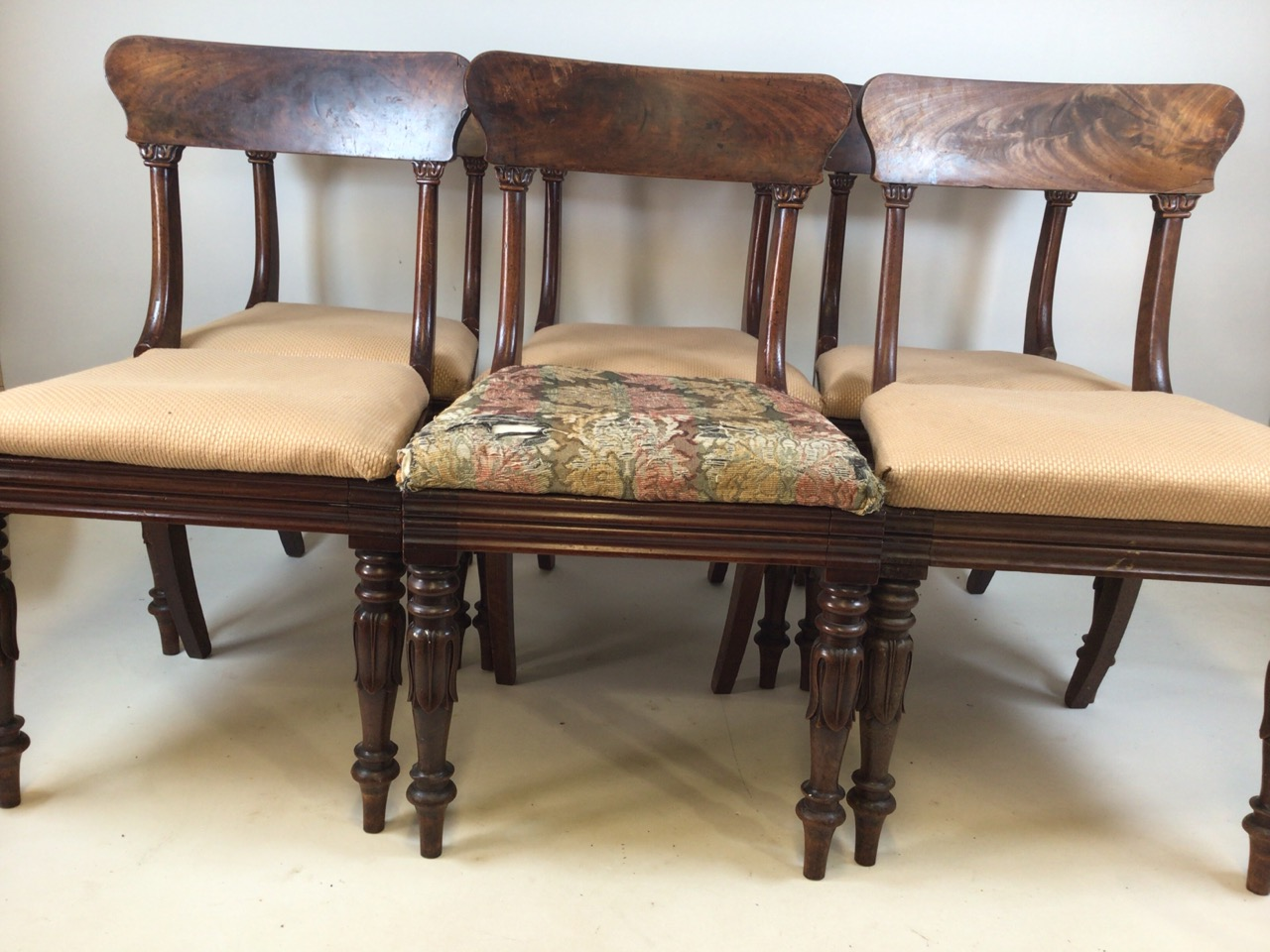 A set of Six William IV dining chairs. Seat height H:48cm