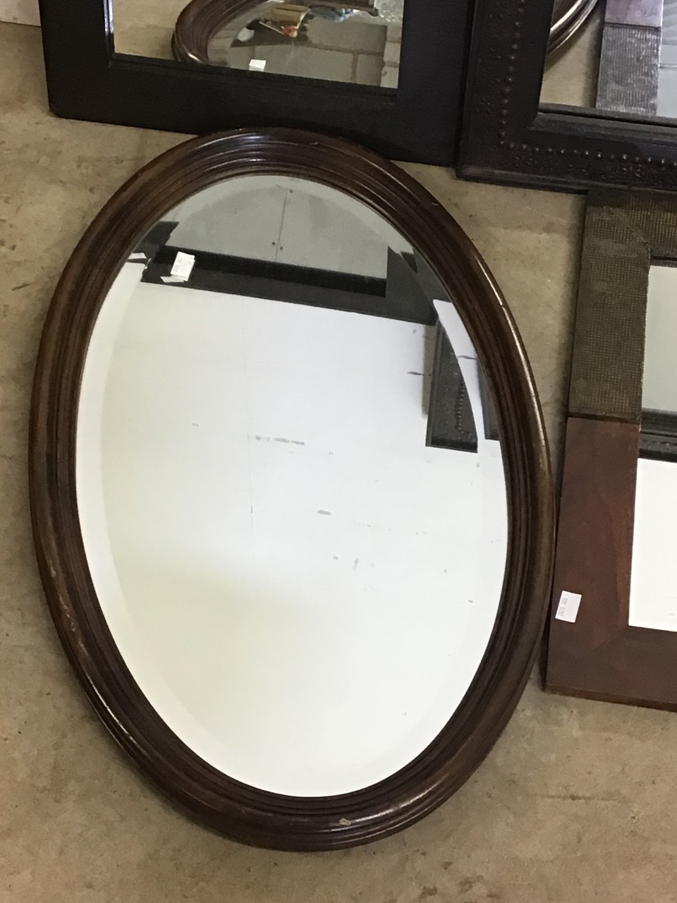 Six modern mirrors including an oval bevelled mirror. W:40cm x H:50cm - Image 5 of 5