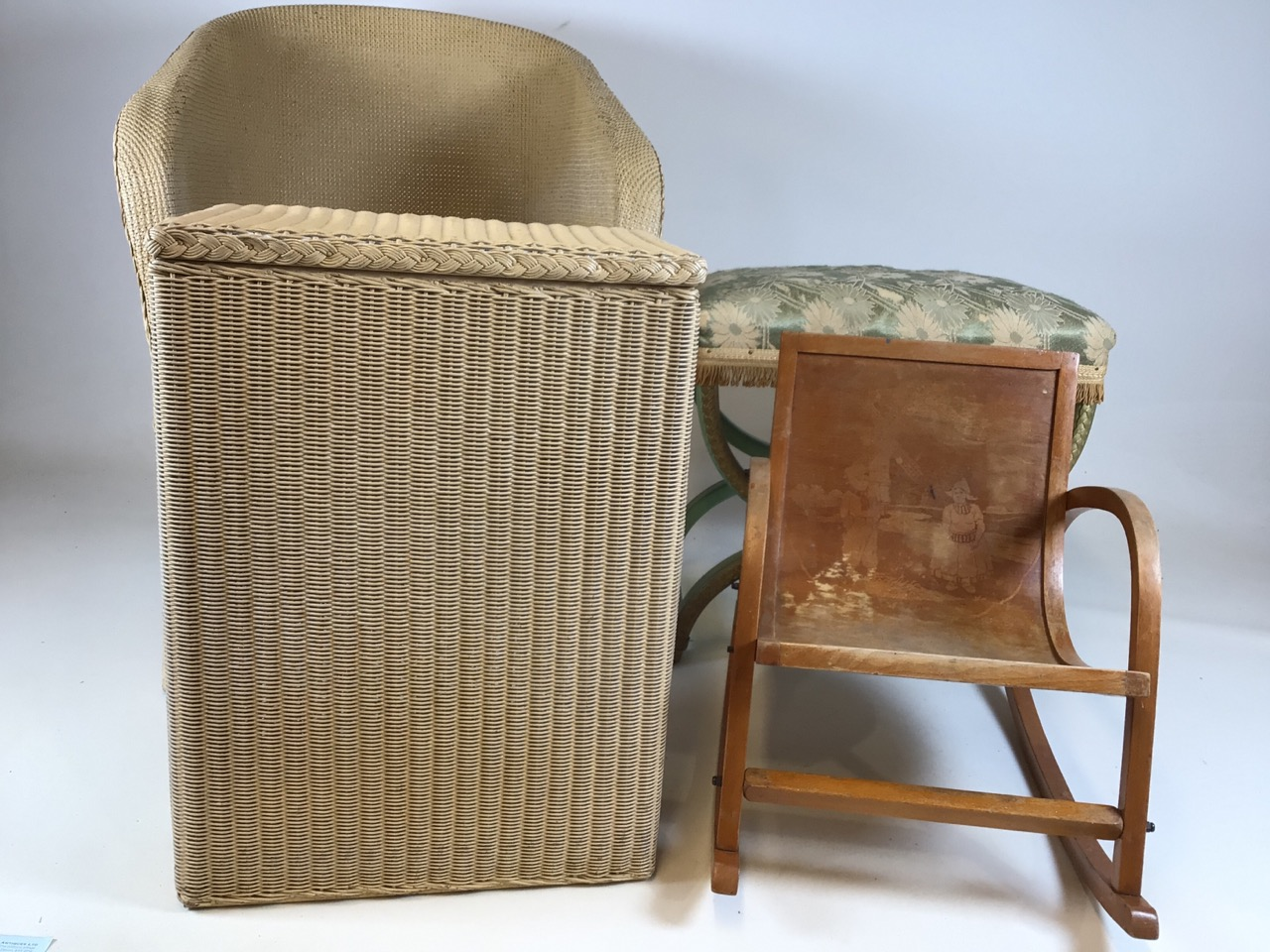 A Lloyd loom Lusty laundry basket also with a metal framed Lloyd loom style chair a bent wood childs