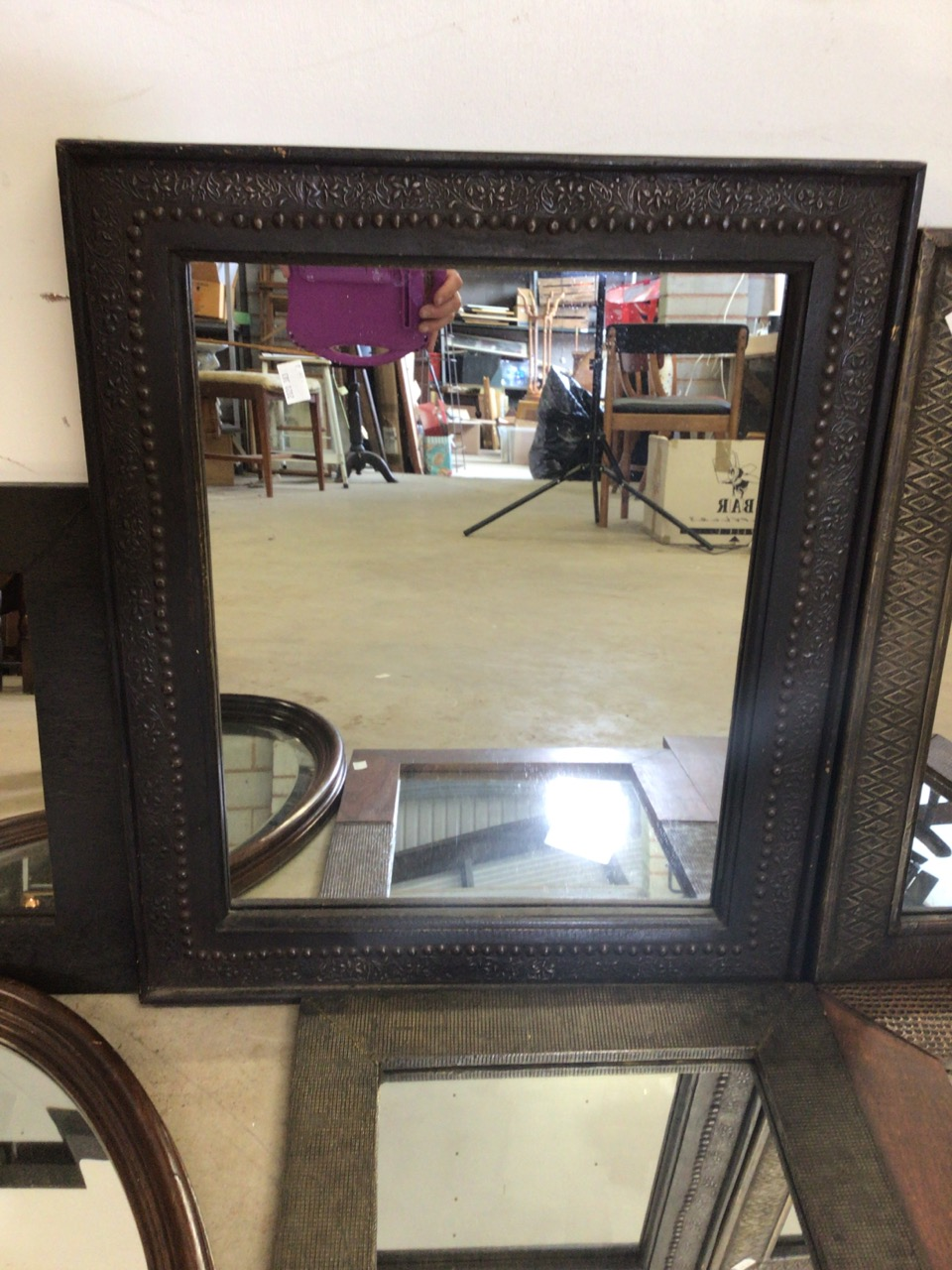 Six modern mirrors including an oval bevelled mirror. W:40cm x H:50cm - Image 3 of 5