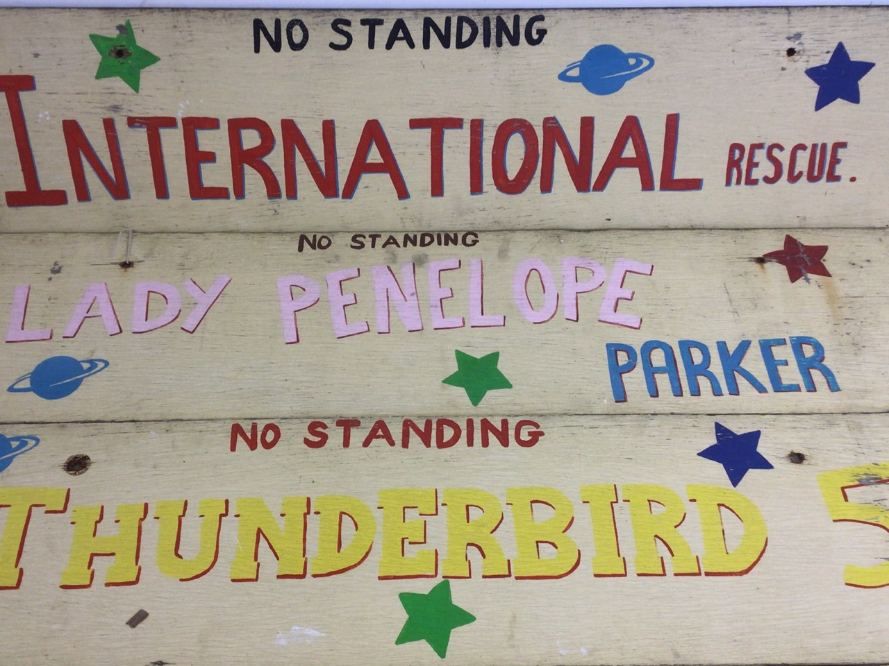 Seven Thunderbirds hand painted signs on wooden boards. W:129cm x H:30cm - Image 4 of 5