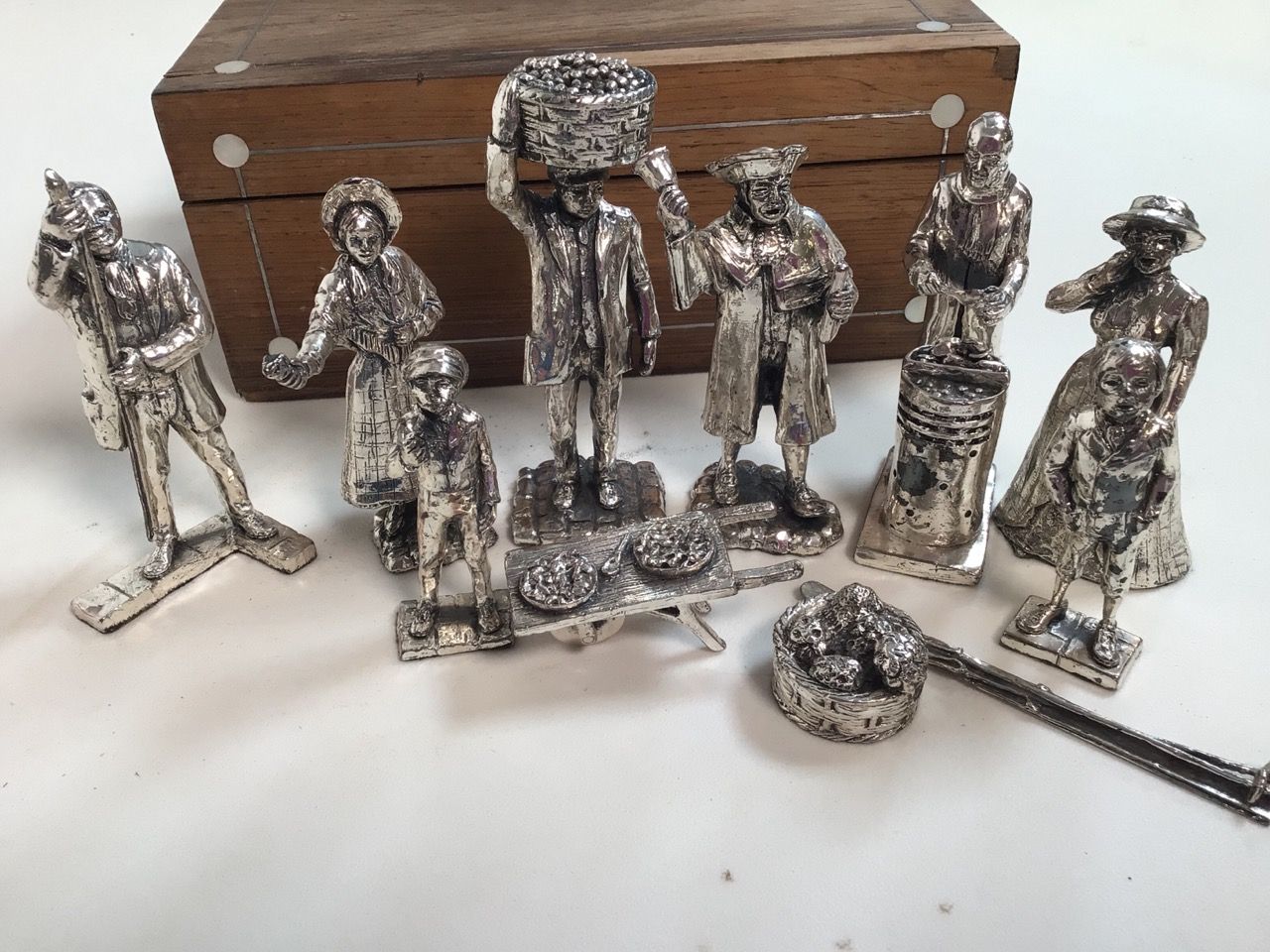 Eleven silvered figures and a wooden box with mother of pearl inlay. - Image 3 of 4
