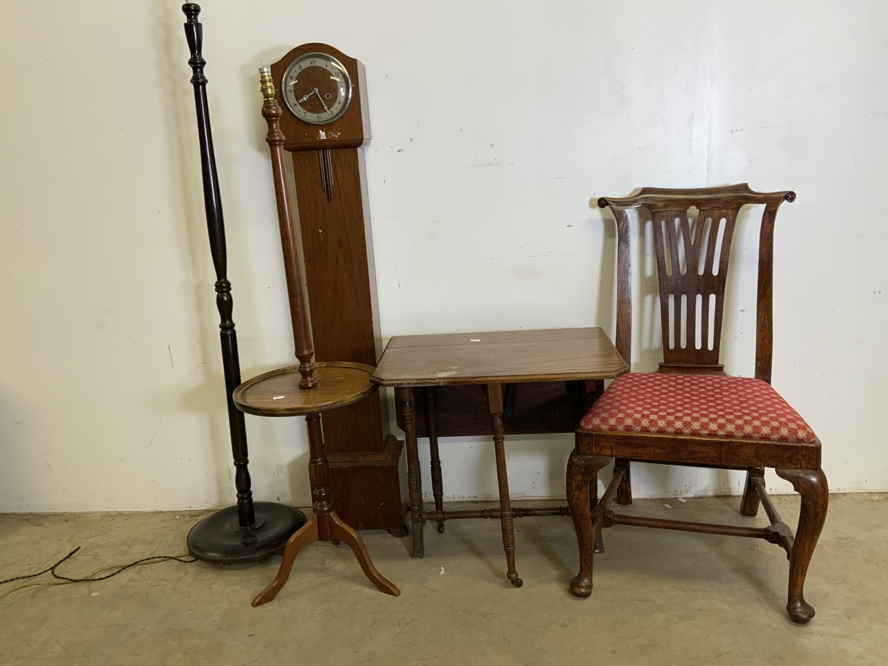Two standard lamps also with a Sutherland table and other 20th century furniture including