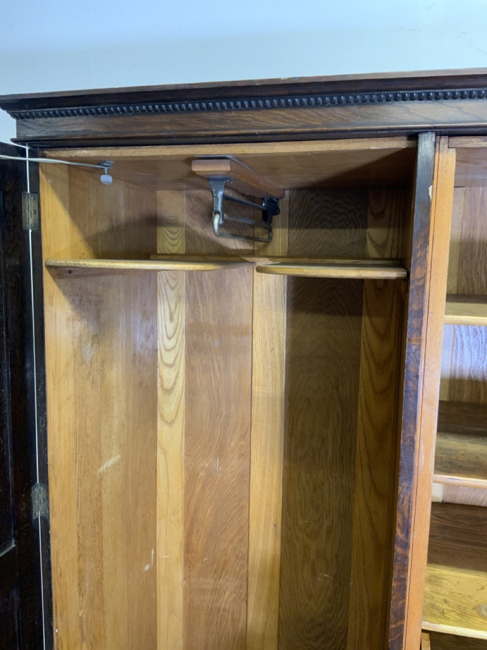 An early 20th century gentleman's oak double wardrobe by Awlyn furniture with fitted shelves, - Image 5 of 10