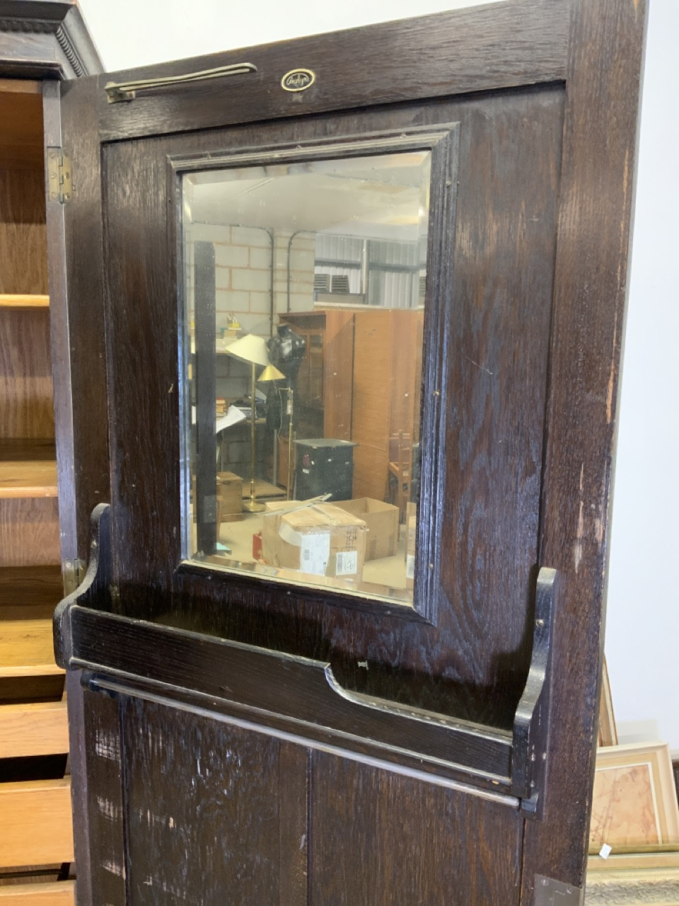 An early 20th century gentleman's oak double wardrobe by Awlyn furniture with fitted shelves, - Image 7 of 10
