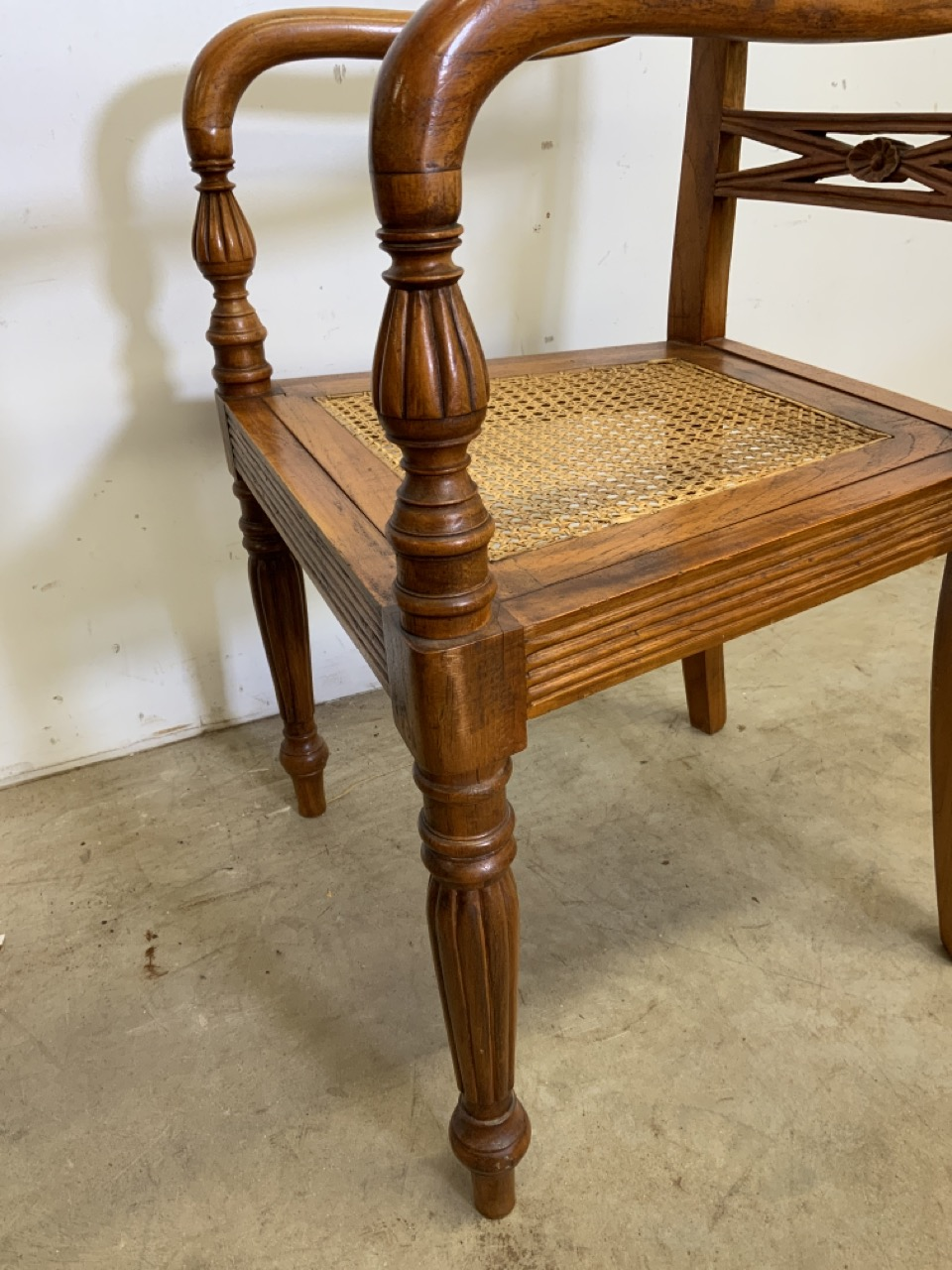 A pair of rattan seated bent wood bar back armchairs. One arm loose. Seat height H:45cm - Image 5 of 6