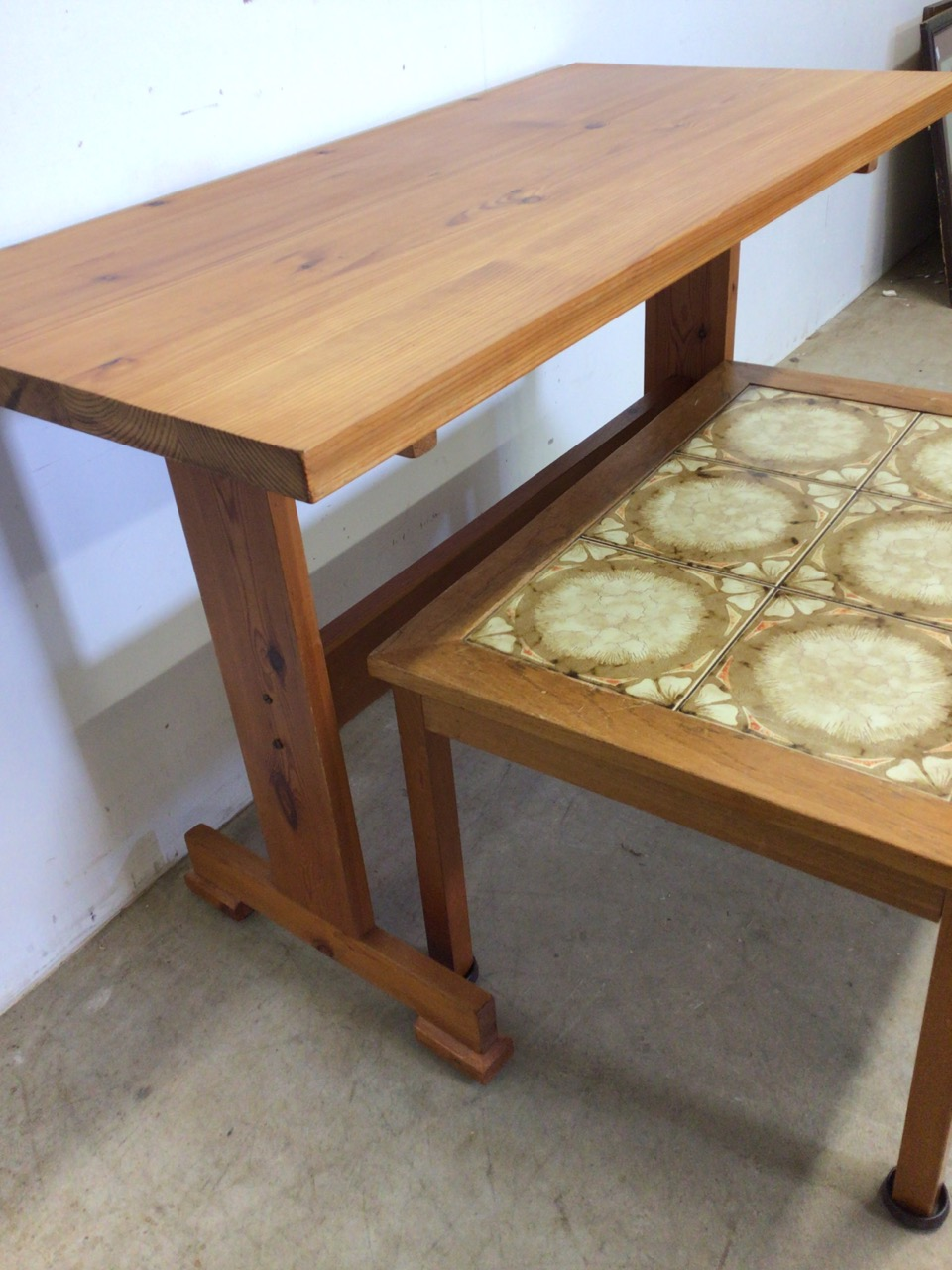 A pine table also with a tiled topped coffee table. W:107cm x D:52cm x H:74cm - Image 3 of 4