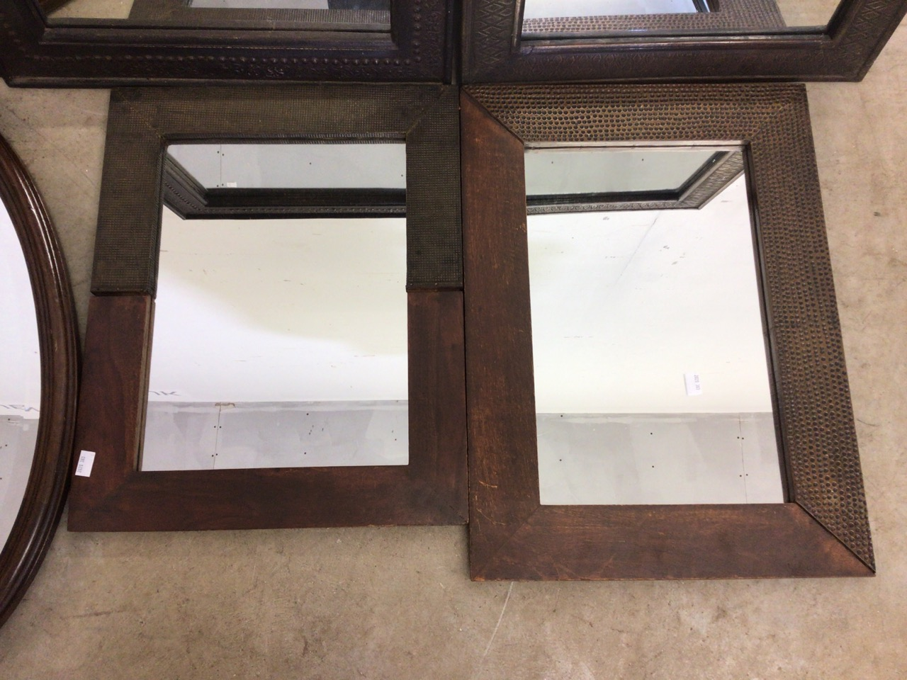 Six modern mirrors including an oval bevelled mirror. W:40cm x H:50cm - Image 2 of 5