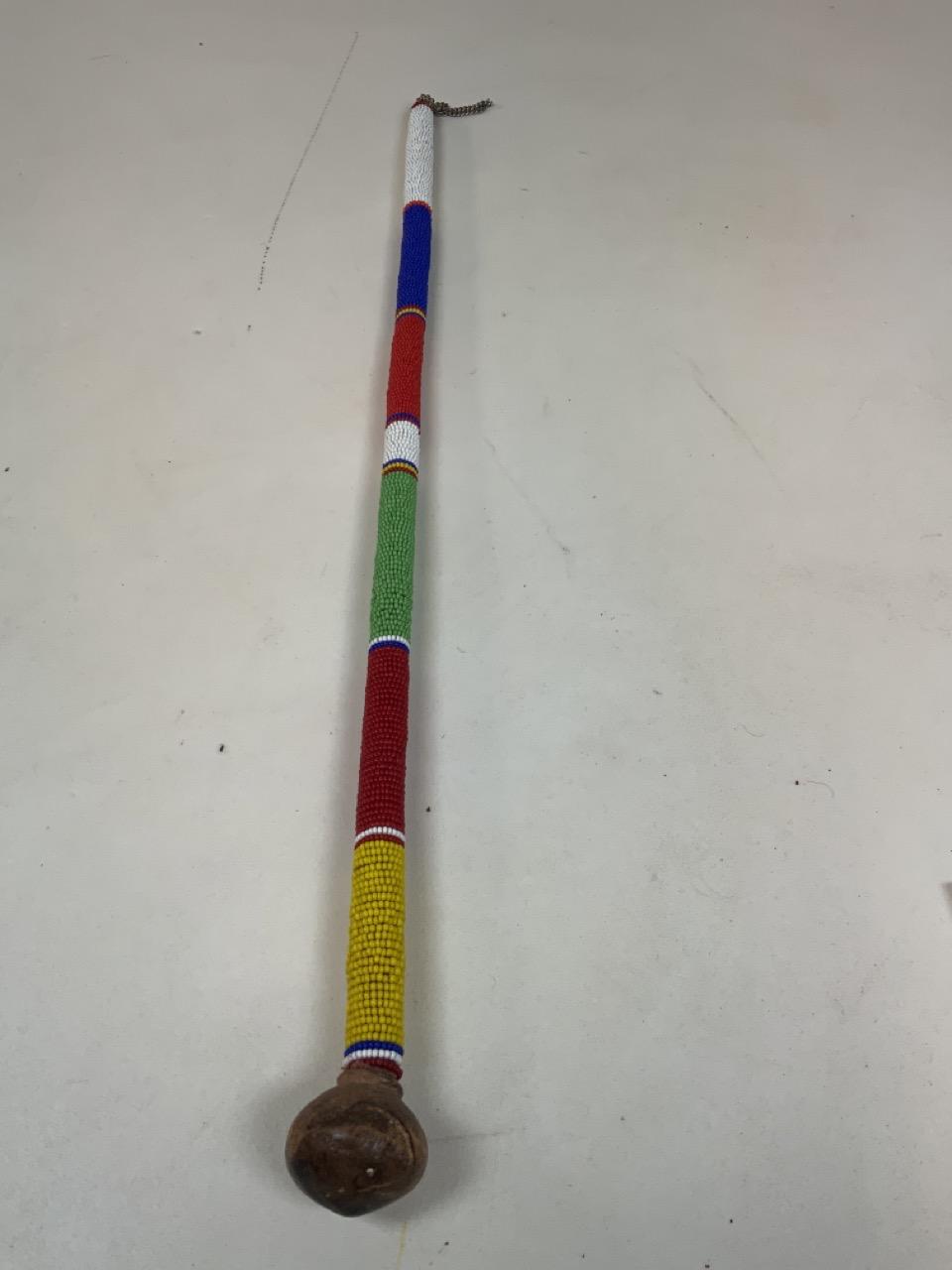 A Masai beaded stick Length 62cm - Image 3 of 3