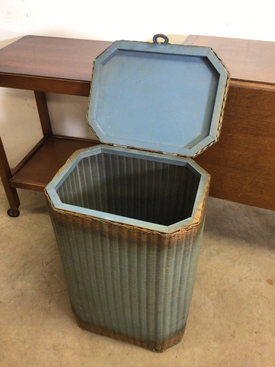 Lloyd loom lusty laundry basket also with two mid century tea trolleys one with folding drop flap - Image 2 of 6