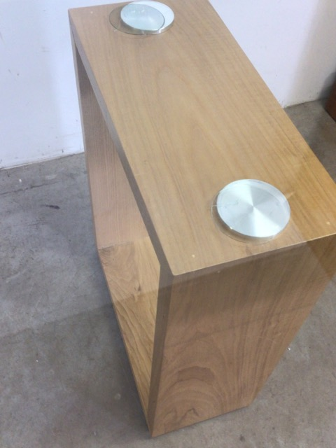 A large modern Abbas glass table with oak supports. W:240cm x D:120cm x H:76cm - Image 6 of 8