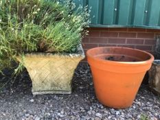 A large square planter also with a terracotta plant pot. W:48cm x D:48cm x H:36cm