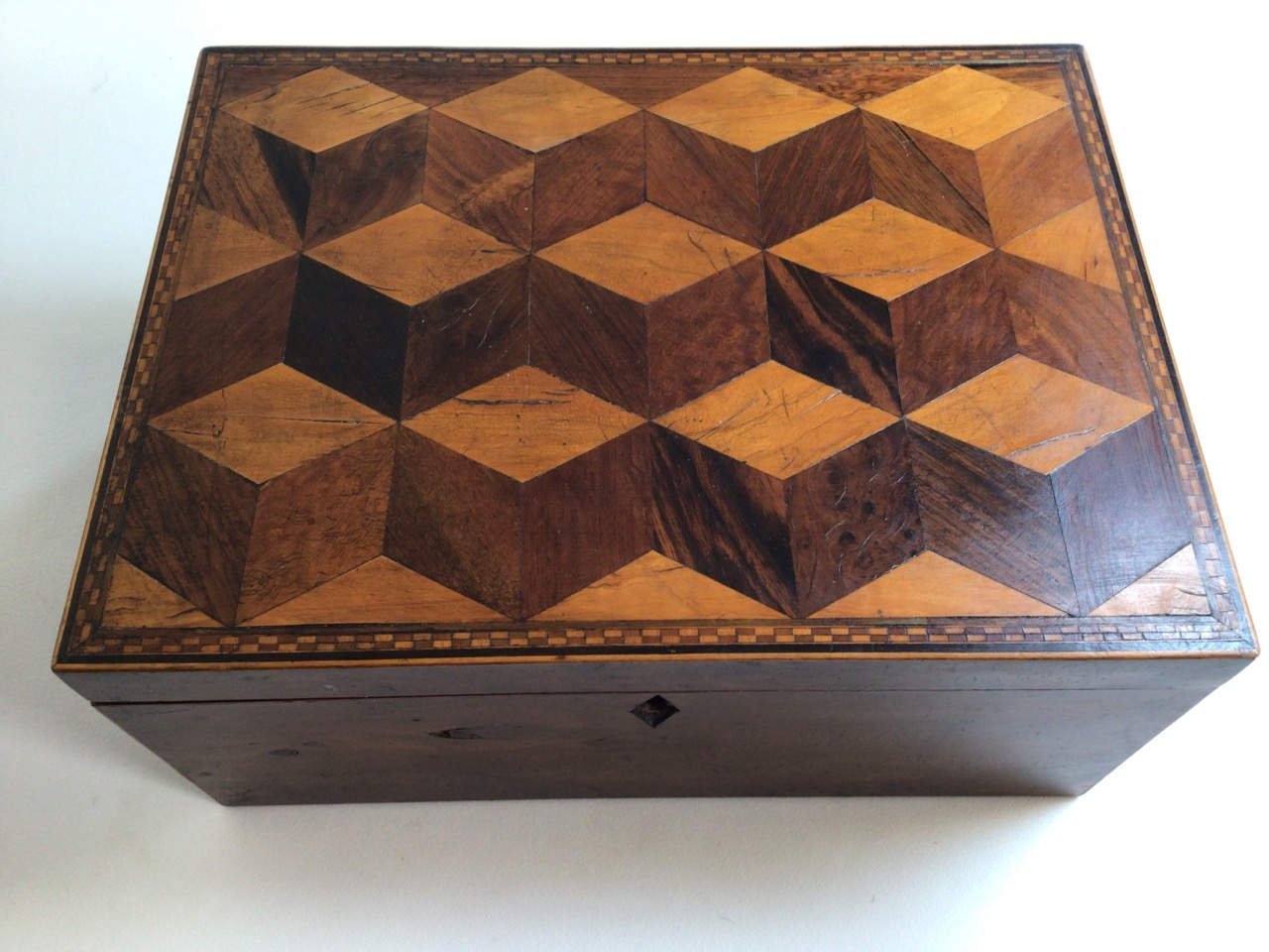 A Victorian parquetry walnut box with metal handles. W:33cm x D:24cm x H:15cm - Image 5 of 5