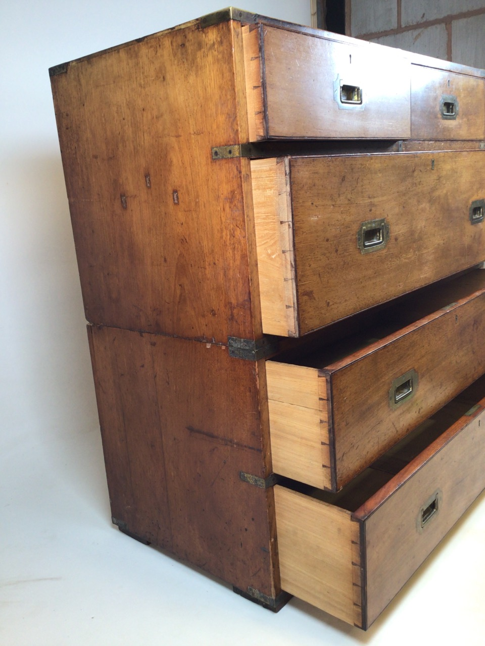 A 19th century mahogany two part military campaign chest of drawers. Lower section with two long - Image 5 of 11