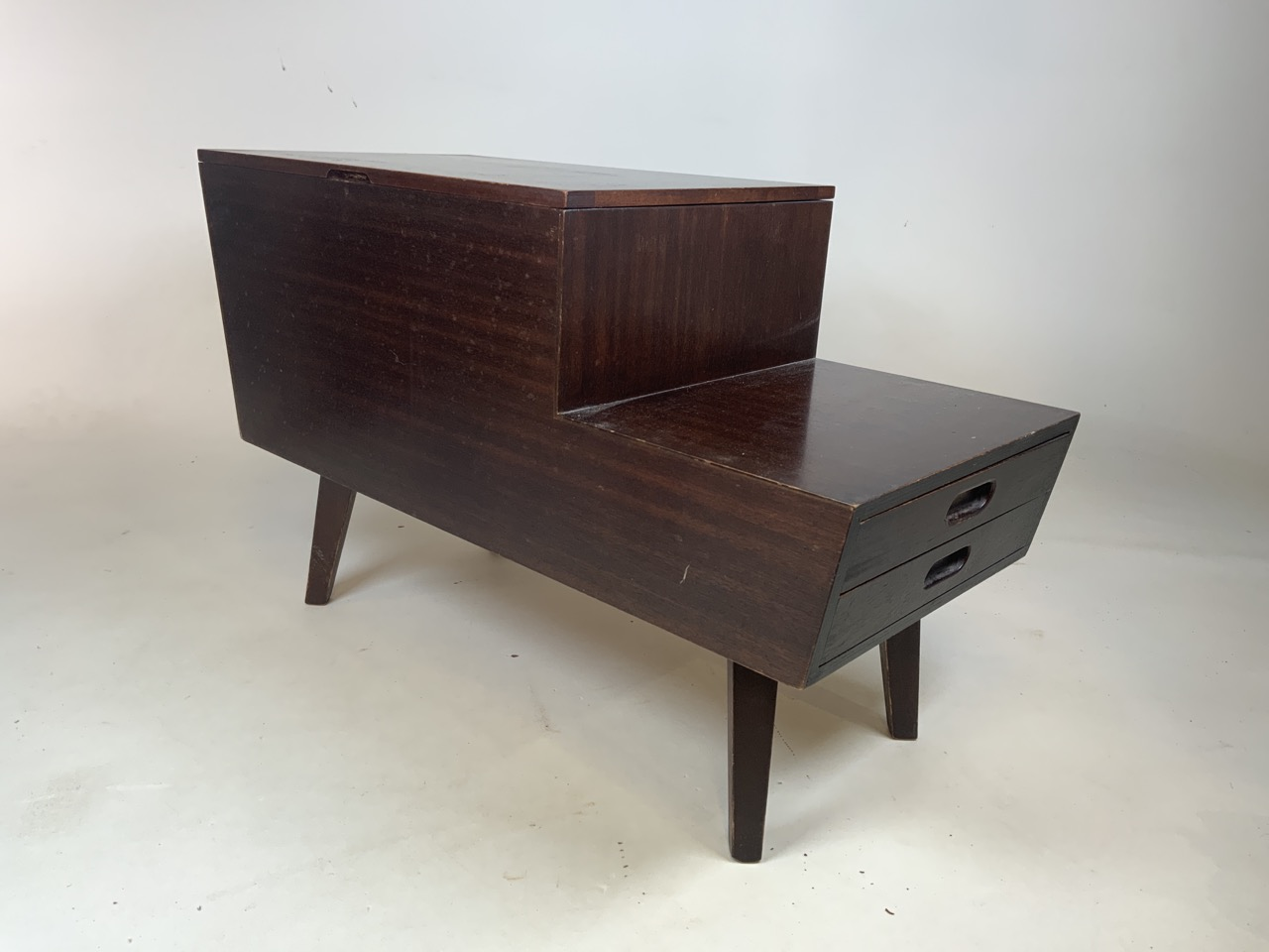 Mid century Vanson teak sewing/ coffee table with lift up top and two drawers. Sliding storage