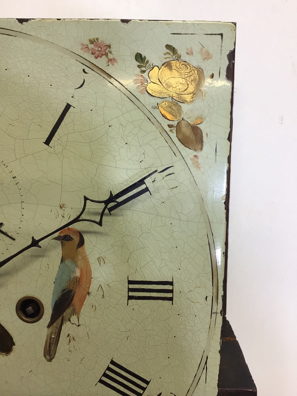 An 8 day mahogany longcase clock with weights and pendulum and key with painted face depicting birds - Image 8 of 10