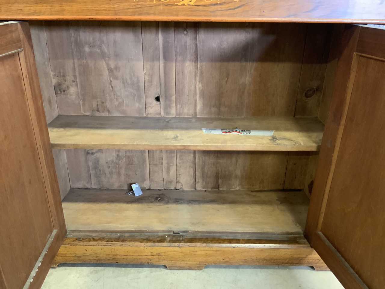 An inlaid walnut credenza with large double cupboard doors with interior shelf. With original mirror - Image 9 of 12