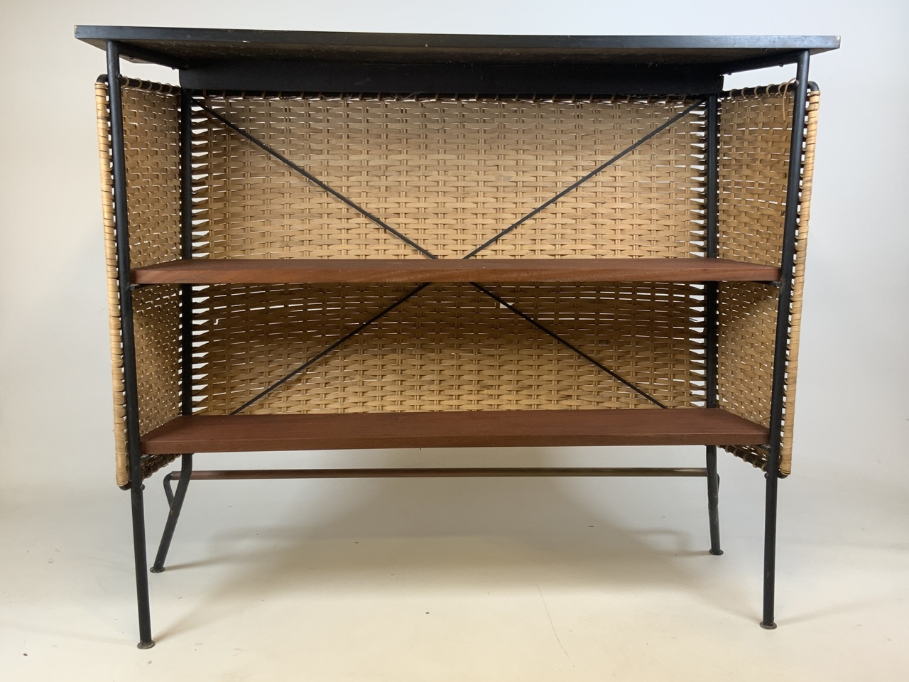 A Franco Albini mid century wicker and iron bar and two bar stools. Bar has two teak shelves to - Image 2 of 13