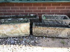 Four oblong concrete garden planters. W:91cm x D:22cm x H:25cm