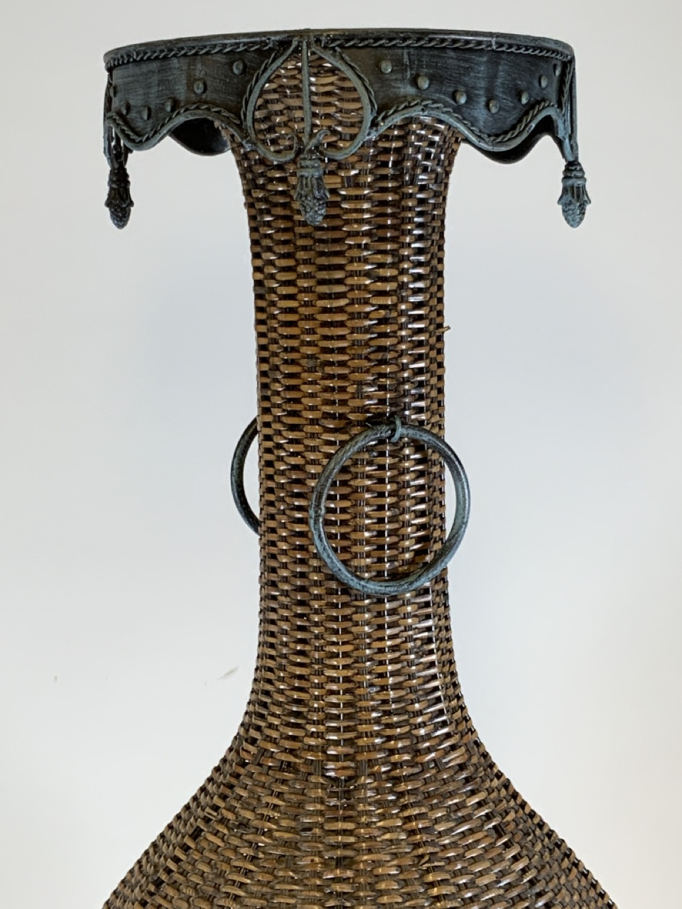 A large wicker conservatory vase in stand with metal hoop handles and decorative metal top. W:24cm x - Image 2 of 5