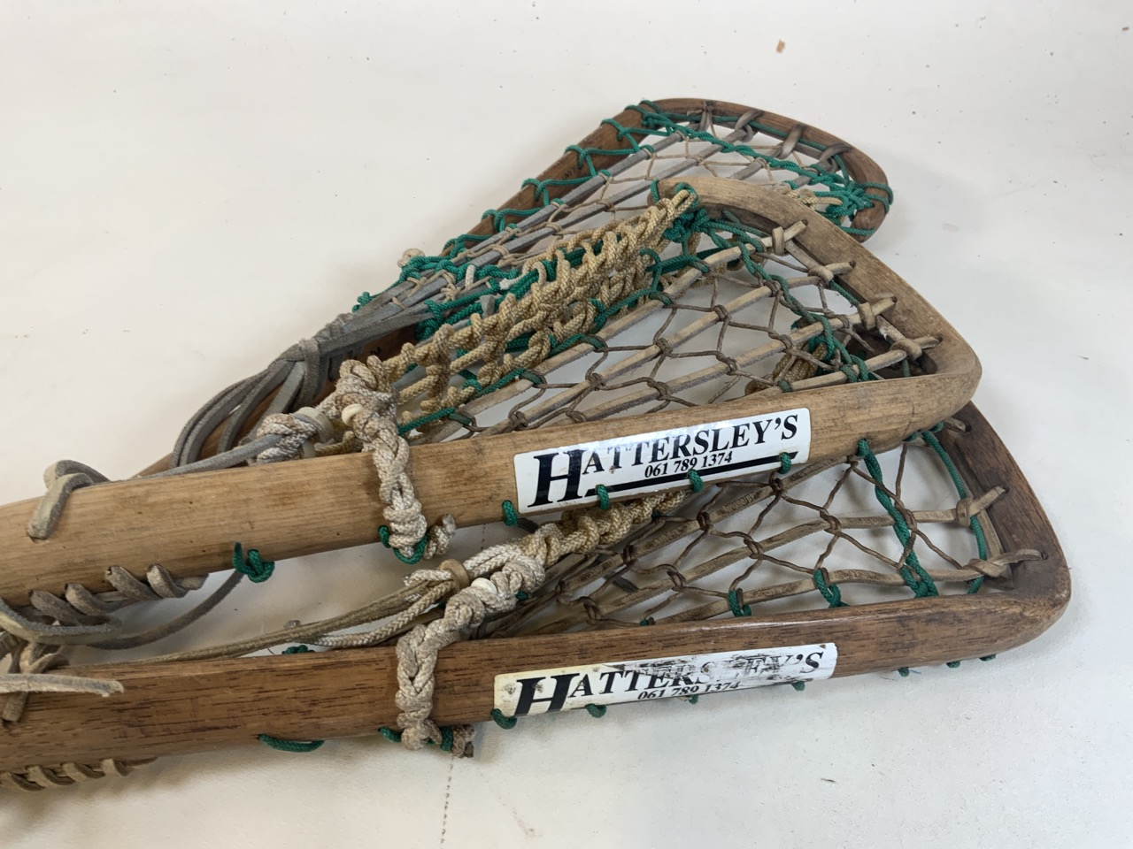 Three lacrosse sticks, tow with Hattersleys labels . Longest stick 110cm - Image 2 of 3