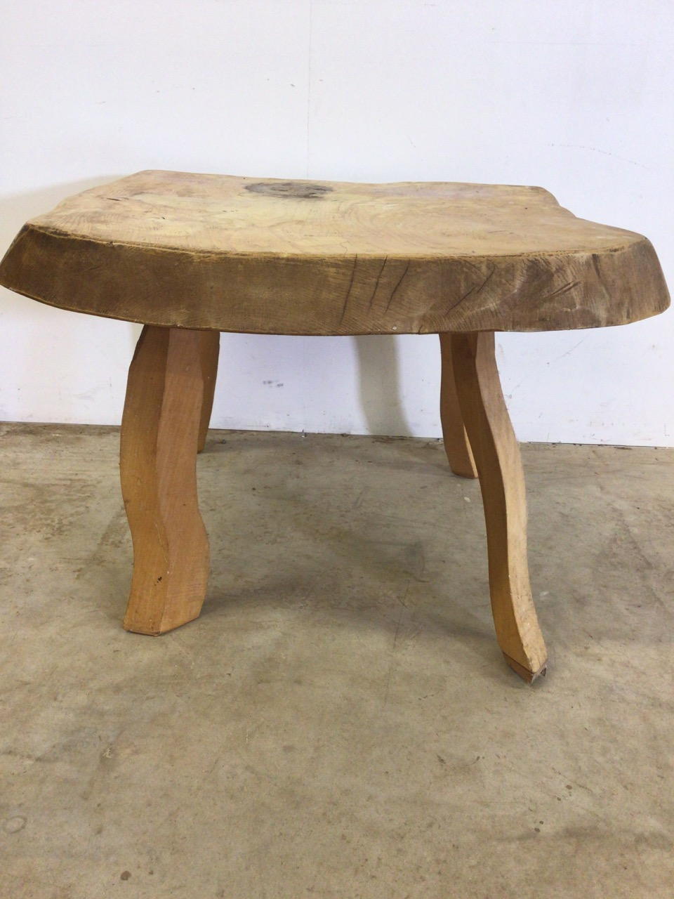 A rustic square coffee table, with 3 inch oak top. W:64cm x D:64cm x H:47cm