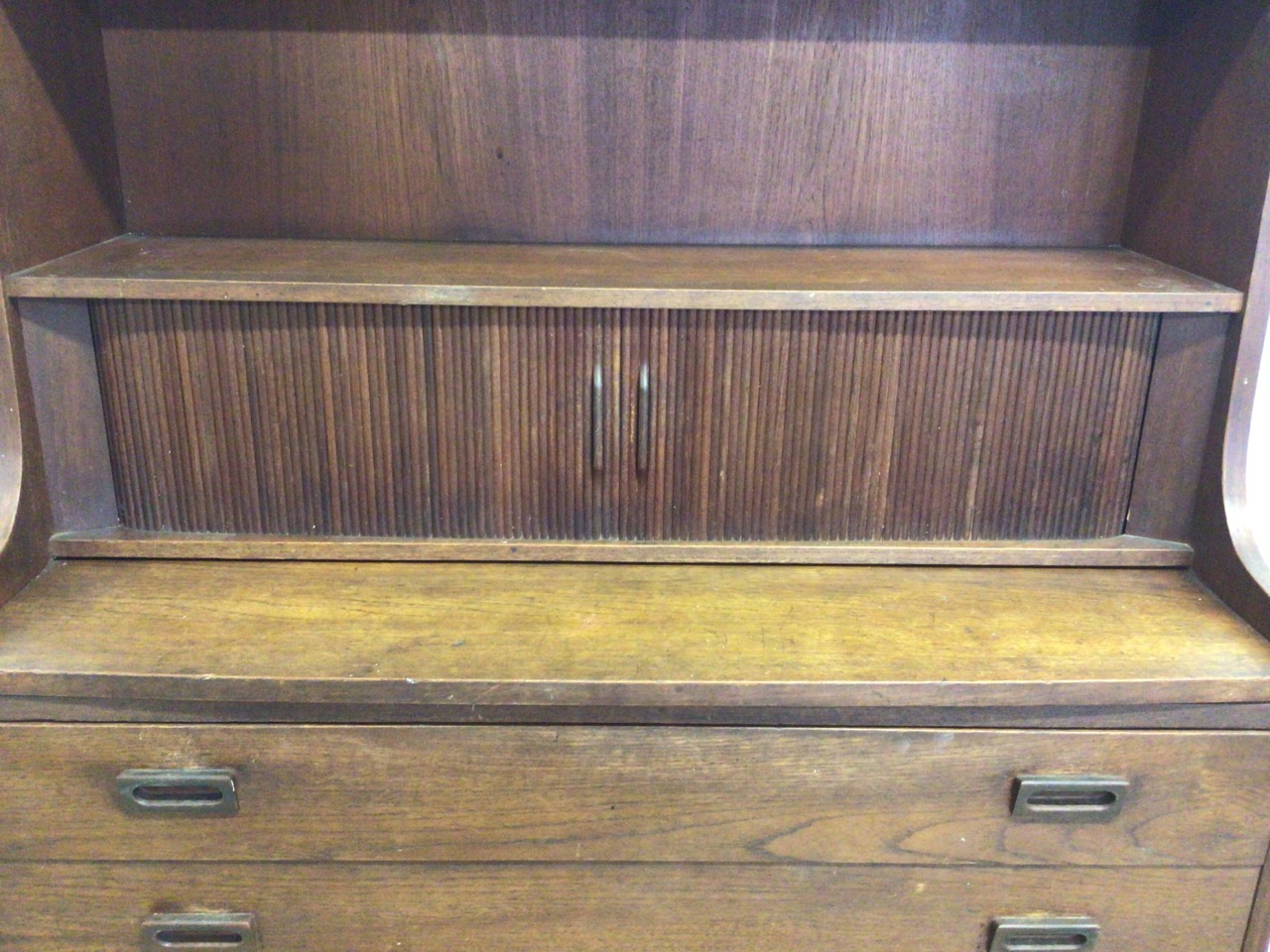 A mid century Danish sideboard with tambour front and three large drawers to base fitted interior. - Image 3 of 10